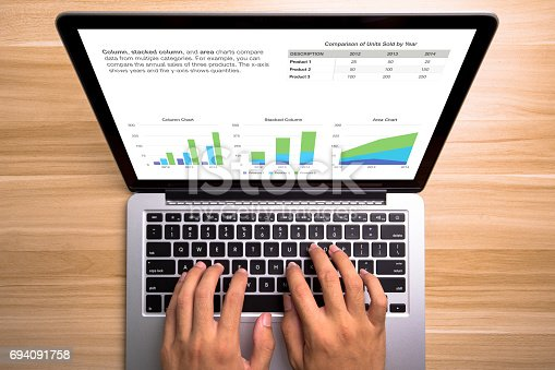 525811918istockphoto Laptop with financial statistics on a desktop 694091758
