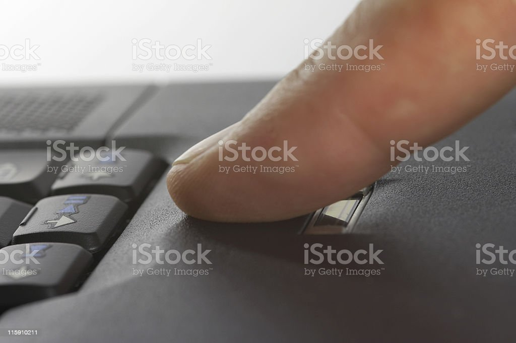 laptop with finger-print security royalty-free stock photo