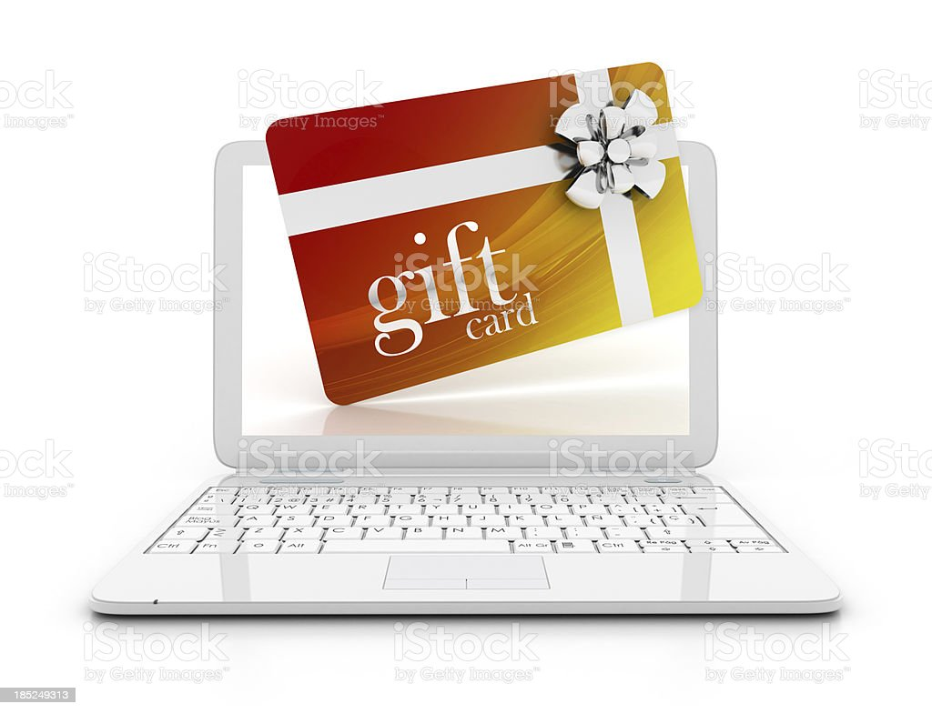 Laptop with gift card stock photo