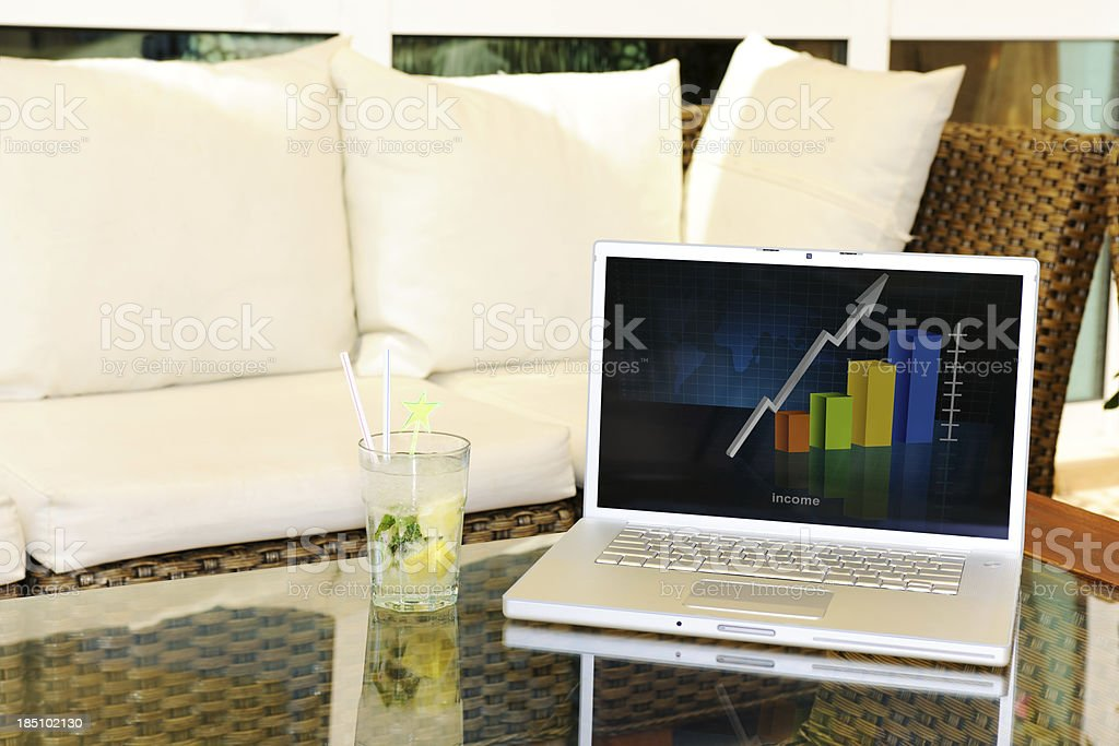 Laptop with graph on the screen at coffee shop royalty-free stock photo