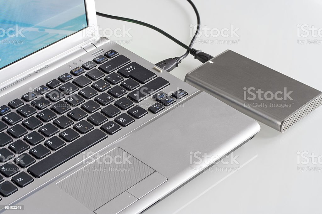 Laptop with hard disk royalty-free stock photo