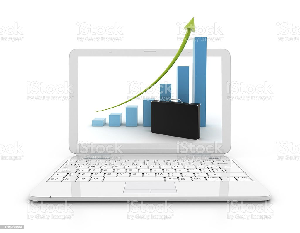 Laptop with Height chart and portfolio royalty-free stock photo