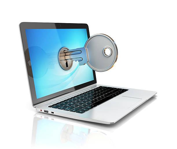 laptop com Chave de Trava de exposição - foto de acervo