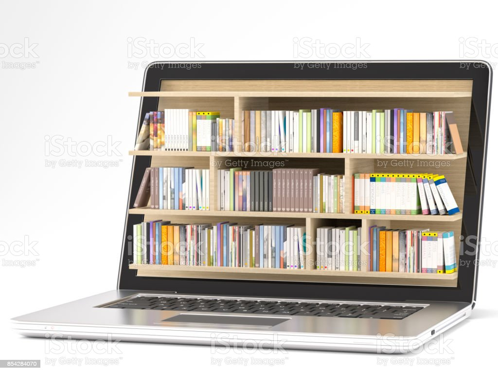 Laptop com biblioteca foto royalty-free