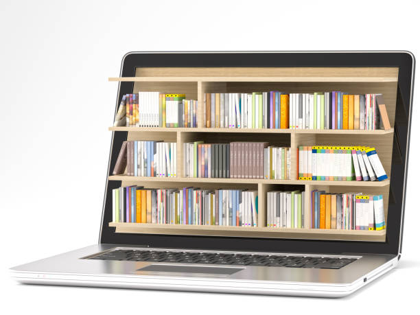 Laptop with library stock photo