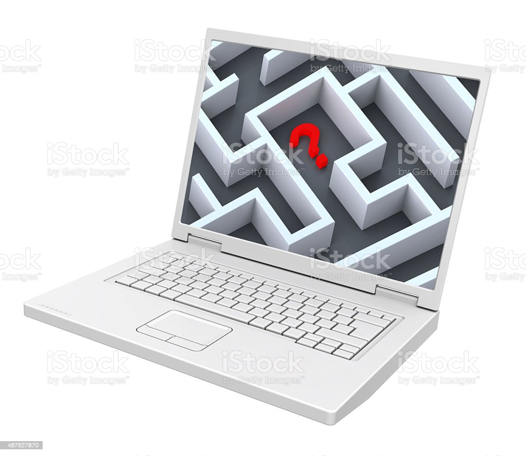 Laptop with maze on the screen isolated over white. stock photo