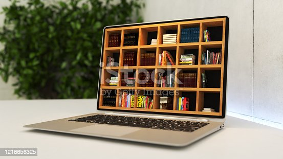 istock Laptop with online library realistic 3D rendering 1218656325