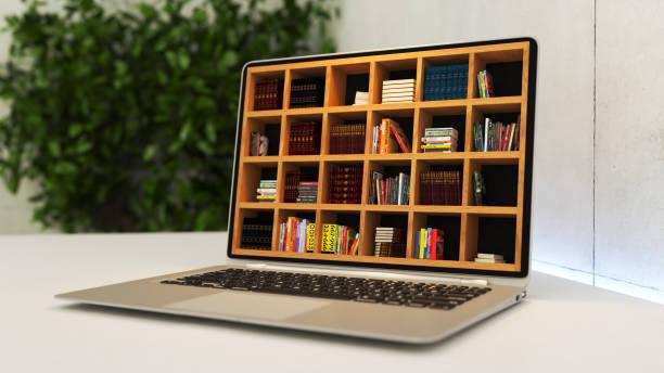 portátil con biblioteca en línea realista renderizado 3d - biblioteca fotografías e imágenes de stock