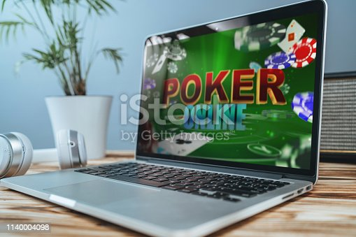 1032204252 istock photo Laptop with online poker on the screen 1140004098