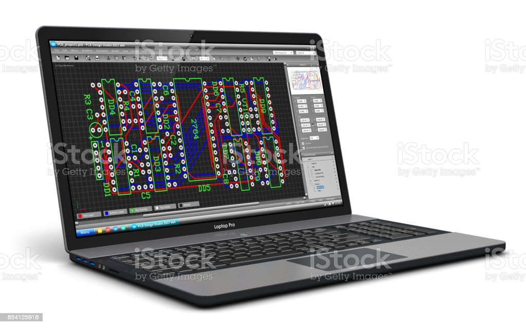 Laptop with PCB development software stock photo