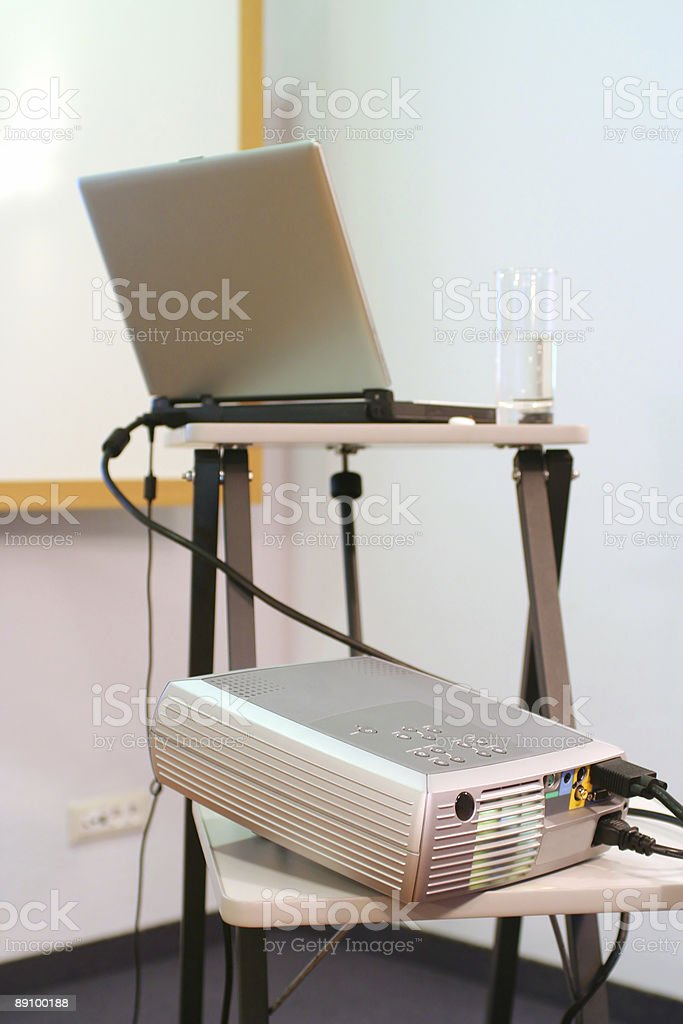 Laptop with projector stock photo