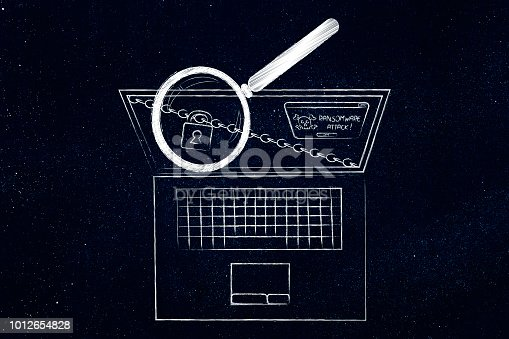 laptop with lock and chain and ransomware alert on the screen being analysed by magnifying glass
