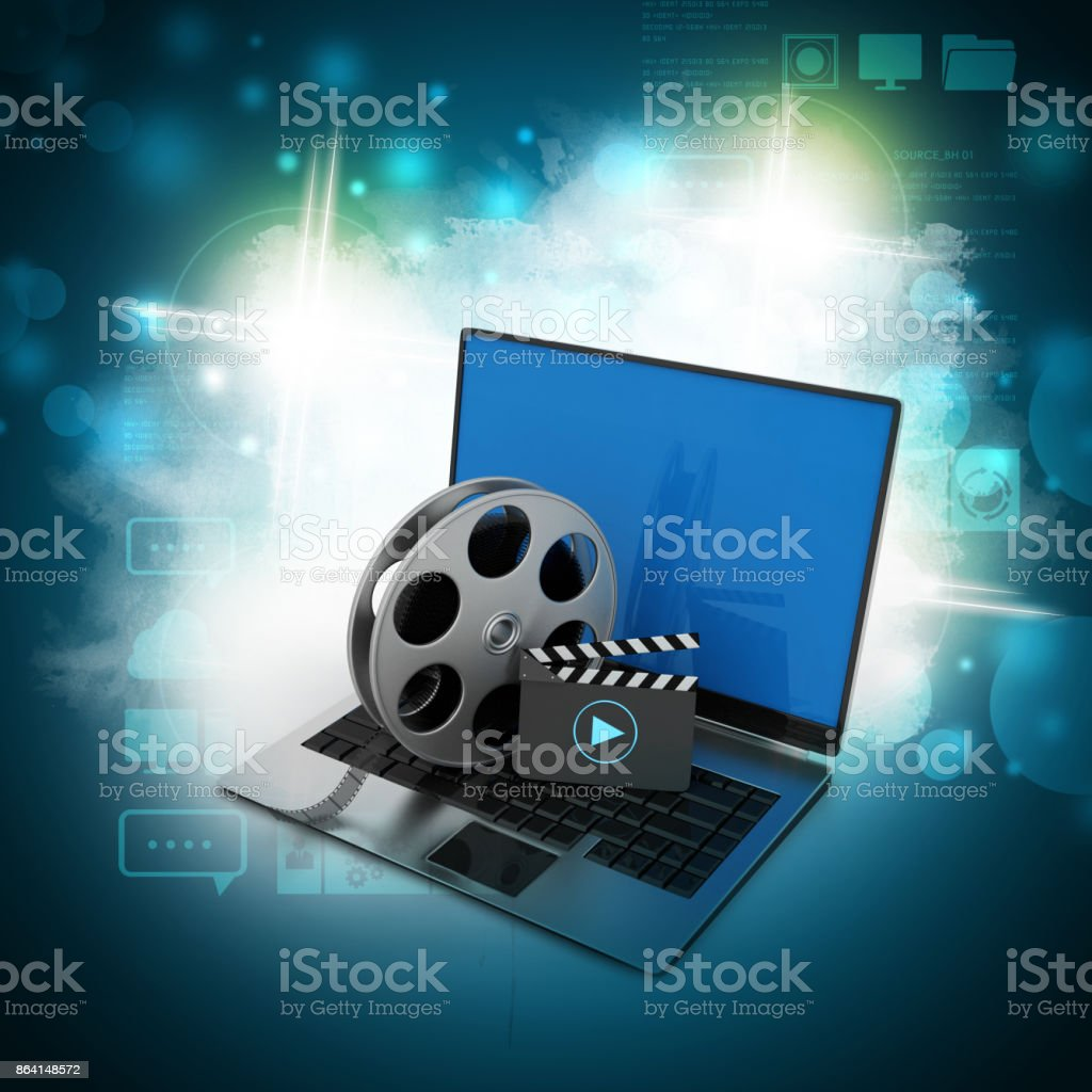 Laptop with reel royalty-free stock photo