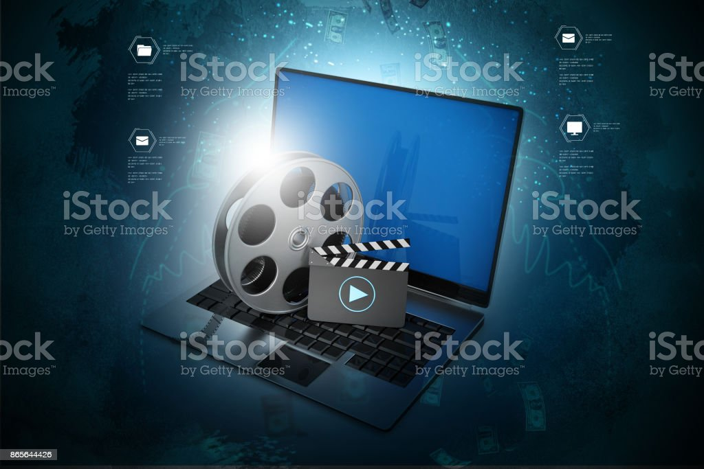 Laptop with reel stock photo