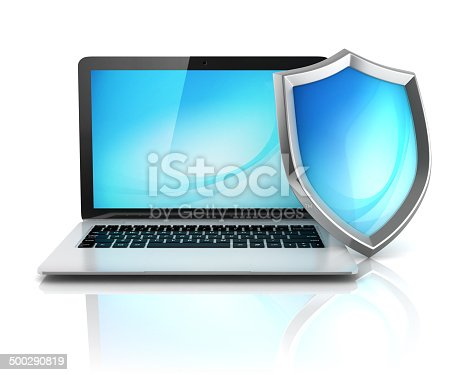 istock laptop with shield - internet security, antivirus or firewall 500290819