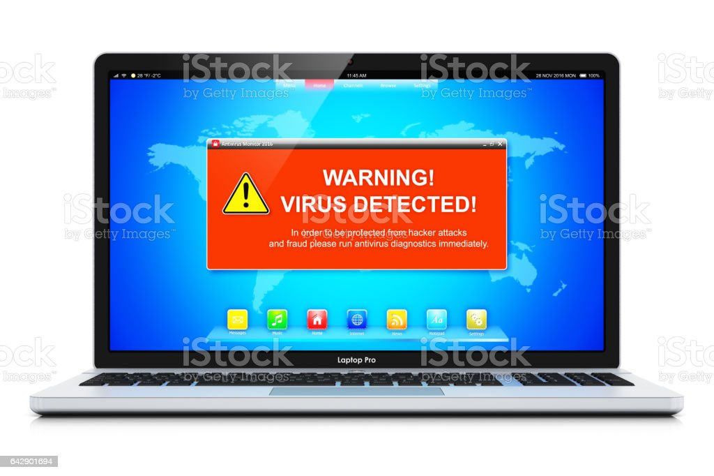 Ordinateur portable avec le message d'avertissement virus attaque sur écran - Photo