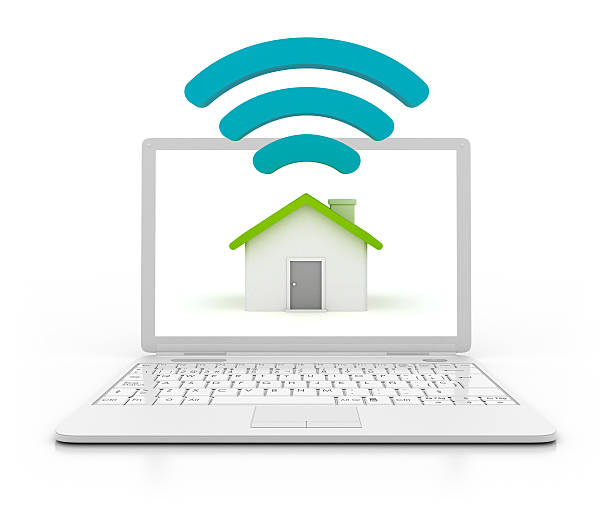 3D Laptop with wi-fi and hause stock photo