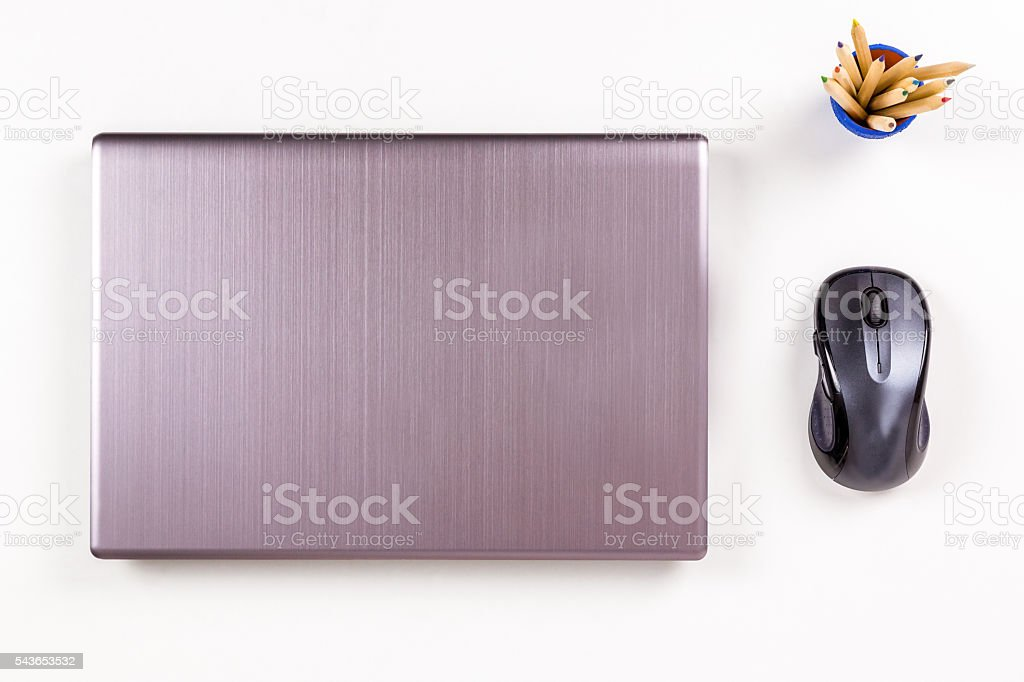 Laptop workplace layout and arrangemant. royalty-free stock photo