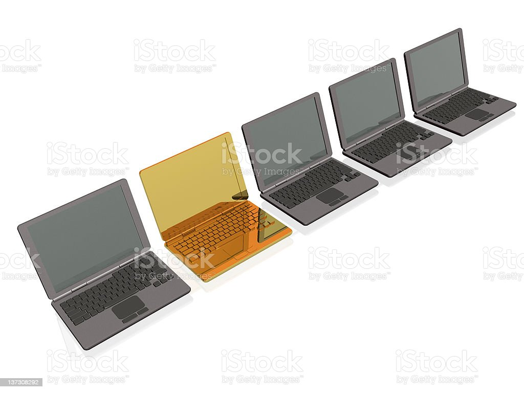 Laptops - gold and grey royalty-free stock photo