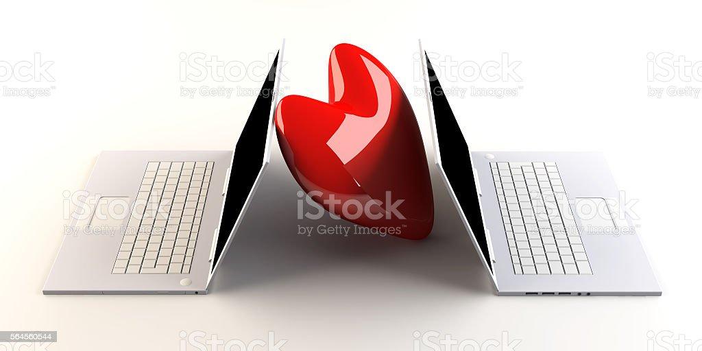 Laptops in Love stock photo