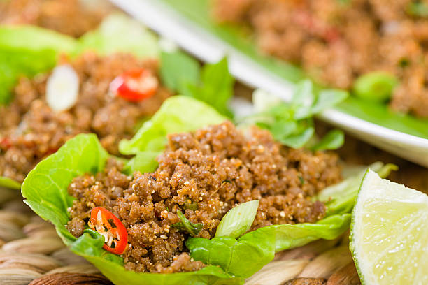 larb - ລາບ / ลาบ - lettuce stock photos and pictures