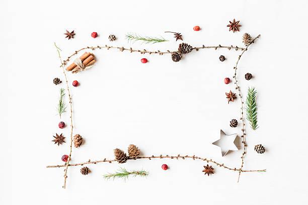 larch branches, cinnamon sticks, anise star, dried cranberry - kiefernzapfen stock-fotos und bilder