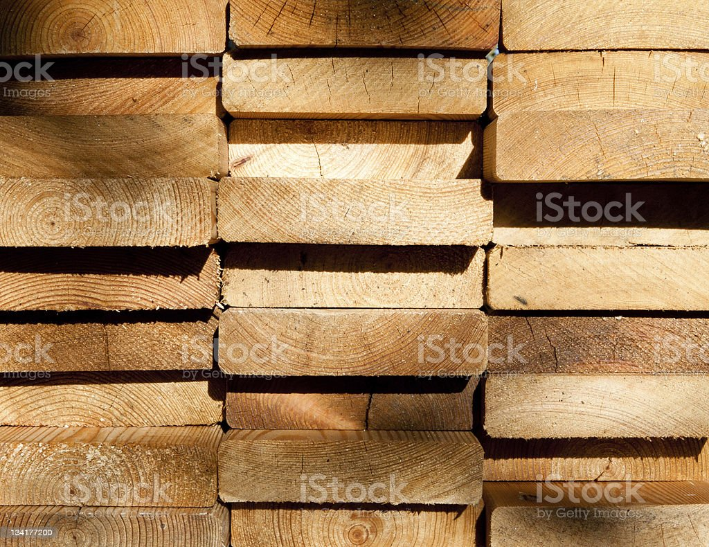 Larch planks ends stock photo