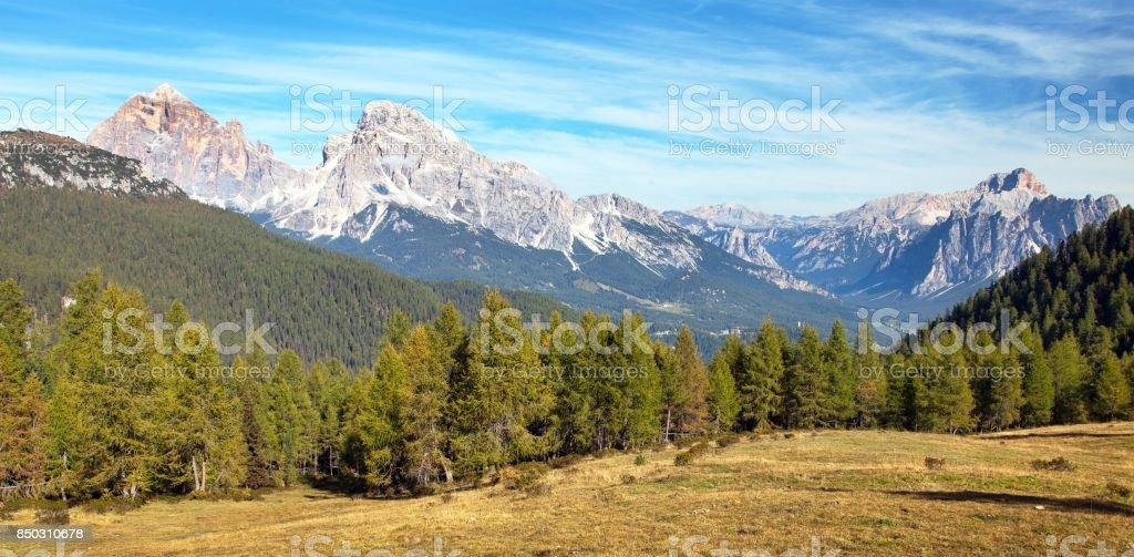 Madera de alerce y Le Tofane Gruppe, Dolomitas, Italia - foto de stock