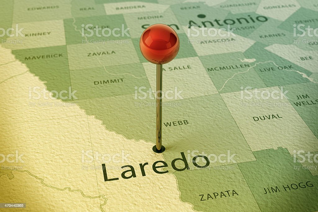 Laredo Map City Straight Pin Vintage stock photo