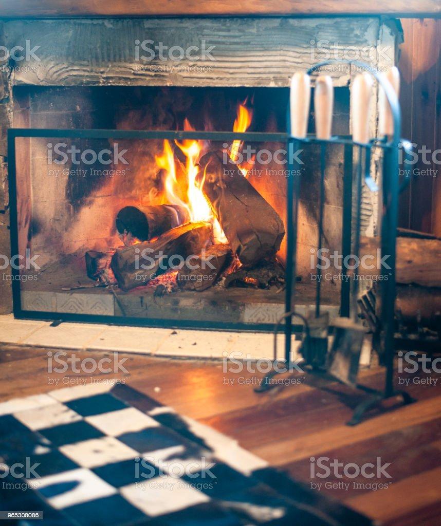 Lareira acesa com lenha queimando zbiór zdjęć royalty-free