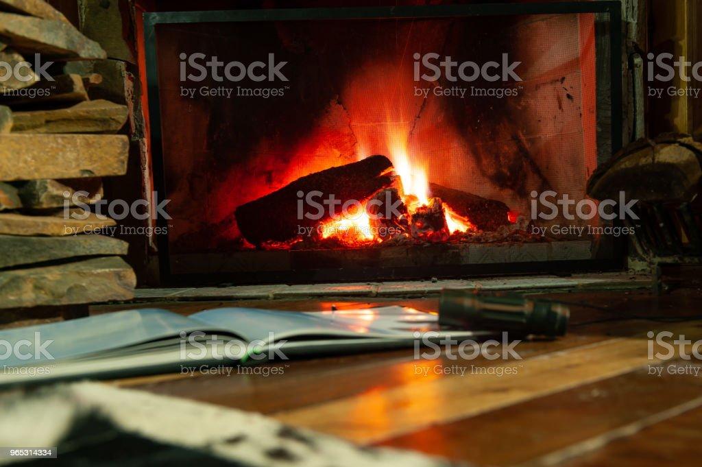 Lareira com fogo para aquecer o ambiente da sala zbiór zdjęć royalty-free