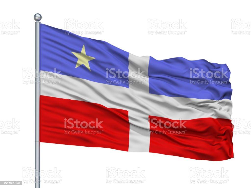 Bandera De La Ciudad De Lares De 1956 En El Asta De La Bandera