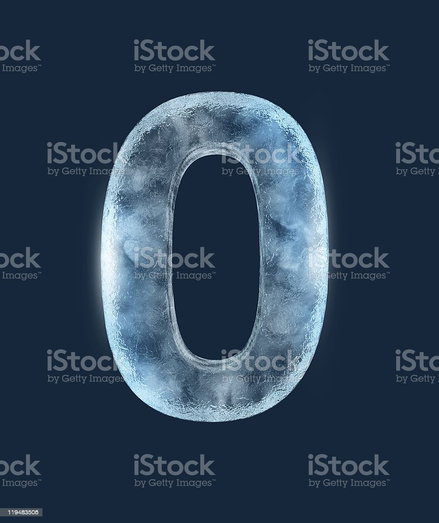 Large 3D number 0 with a frozen design stock photo