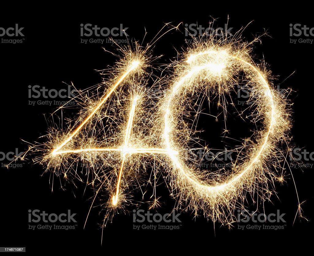 A large 40 made out of fireworks stock photo