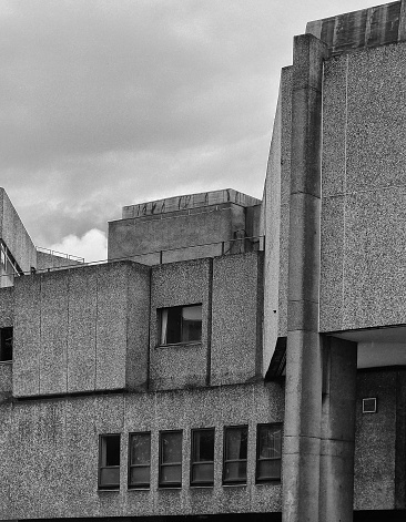 Large abandoned concrete brutalist 1960s office building formerly the offices of the yorkshire post demolished in 2014