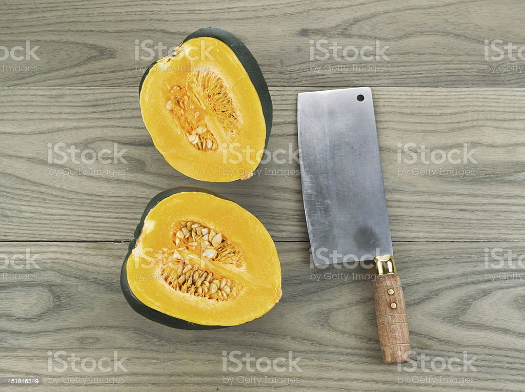 Large Acorn Squash cut in half royalty-free stock photo