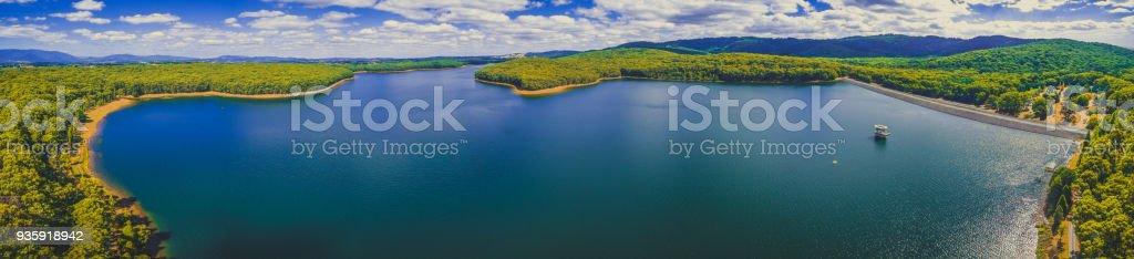 Large aerial panorama of Silvan Reservoir. Melbourne, Victoria, Australia. stock photo