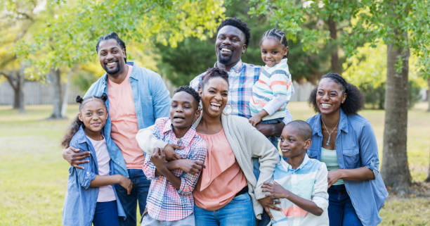 Large African-American family reunion stock photo