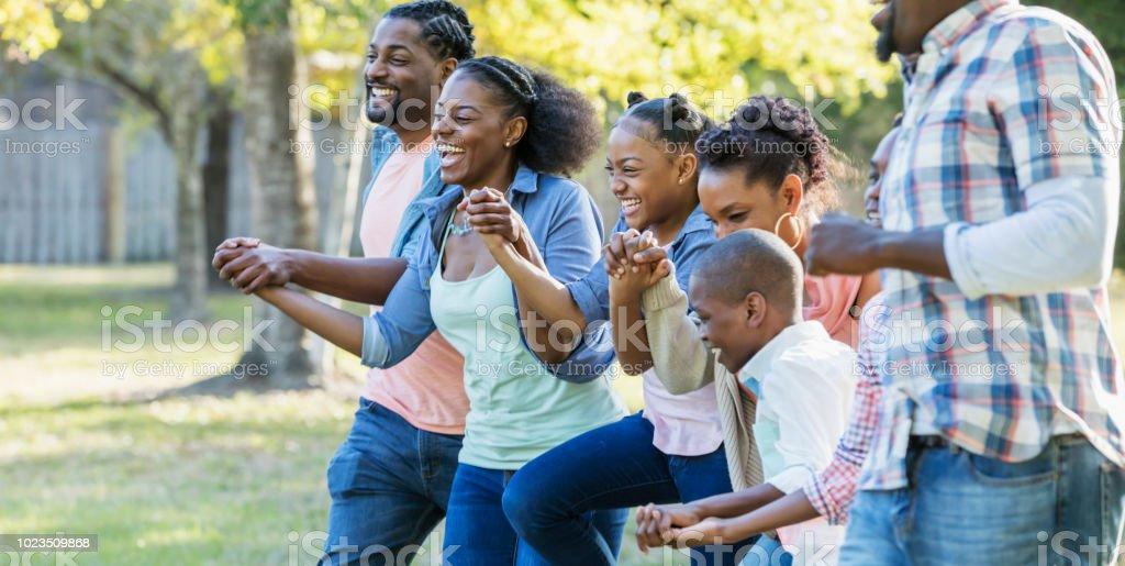 Afrikanisch-amerikanischen Großfamilie zusammen laufen im park – Foto