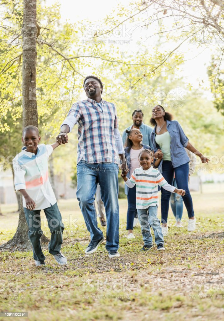 A large African-American family with aunts, uncles and cousins,...
