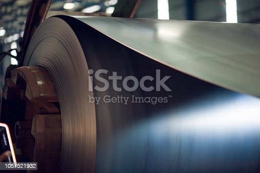 Image of Large aluminium metal steel rolls in the factory.