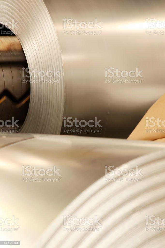 Large aluminium steel rolls in the factory stock photo