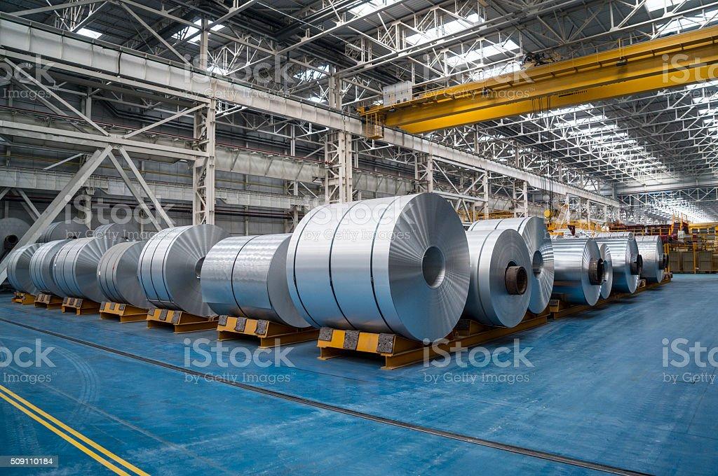 Large Aluminium Steel Rolls stock photo