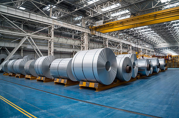 large aluminium steel rolls - aluminium stock photos and pictures