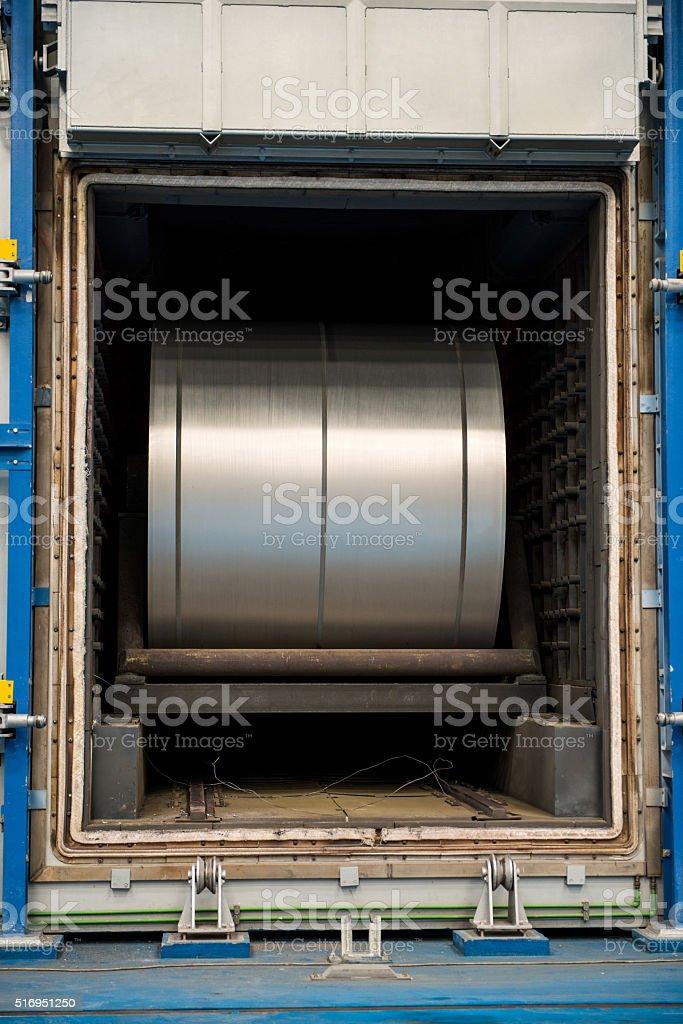 Large aluminium steel rool in furnace stock photo