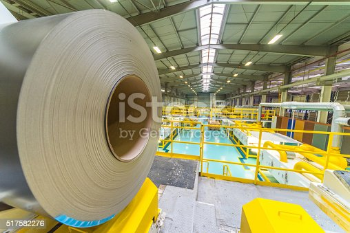 Large aluminium steel roll in the factory