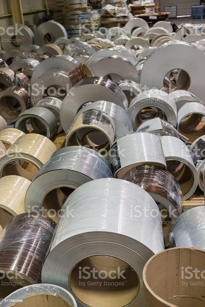 Large aluminium steel rools stock photo