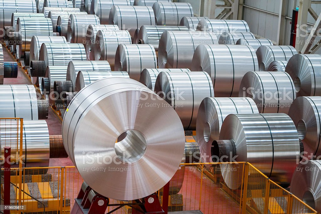 Large Aluminum Steel Rolls in the factory stock photo