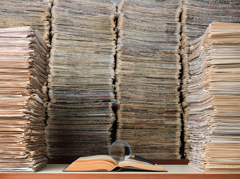 Large Amount Of Documents, Books And Newspapers In Library