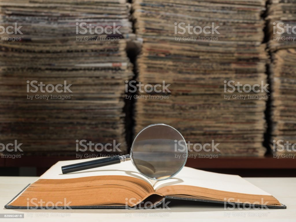 Large Amount Of Documents, Books And Newspapers In Library stock photo